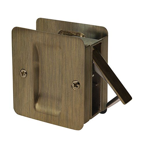 Welcome Home 1030 Antique Brass Square Pocket Door Passage Lock for Doors up to 2 1/4-inch x 1 7/8-inch Cut-out in Edge of 1 3/8-inch