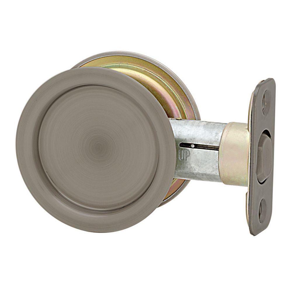 Weiser 1030 Round Antique Nickel Pocket Door Passage Lock