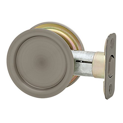 1030 Round Antique Nickel Pocket Door Passage Lock