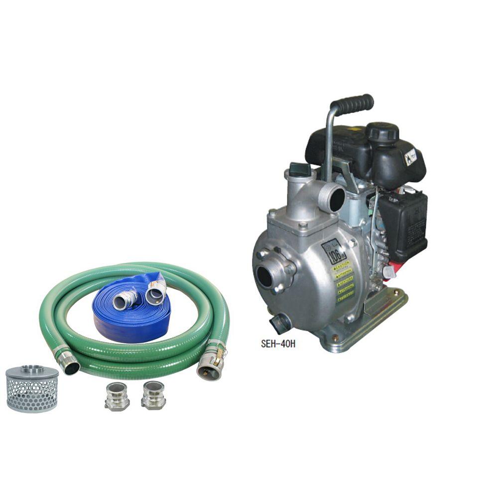Koshin Pompe centrifuge koshin seh-40h avec un kit de tuyau pour pompe à eau de 1 pouce et demi