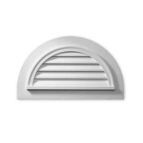 43-inch x 25-inch x 2-inch Polyurethane Decorative Half Round Louver Gable Grill Vent with Flat Trim