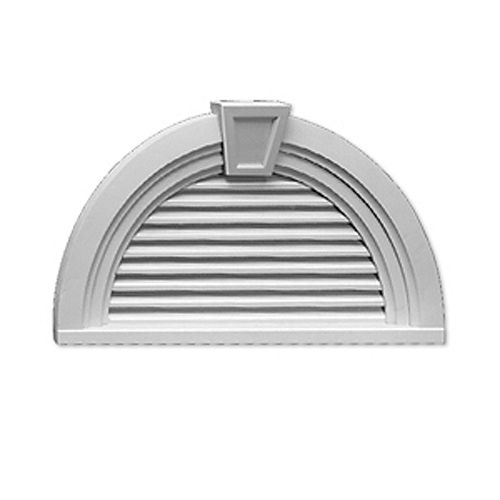 36-inch x 18 9/16-inch x 3-inch Functional Half Round Louver Gable Grill Vent with Trim and Keystone