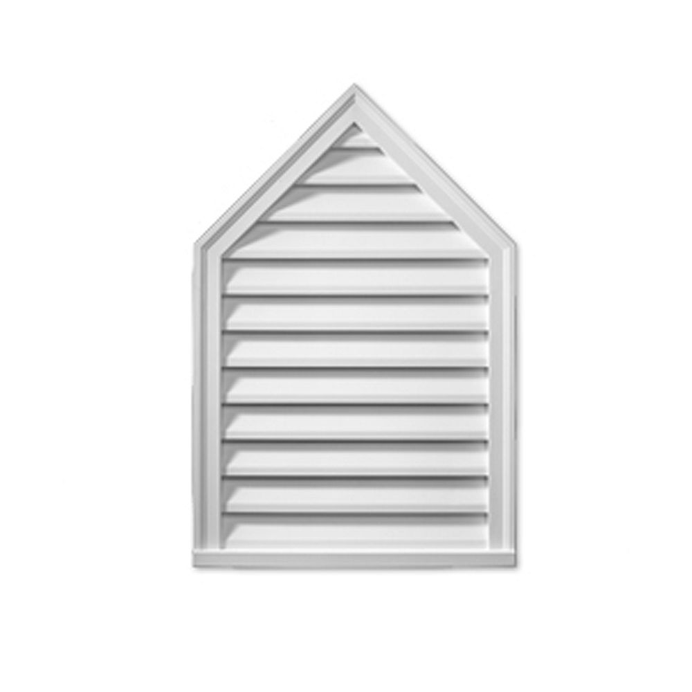 Fypon 24-inch x 36-inch x 2-inch Polyurethane Decorative Peaked Louver Gable Grill Vent