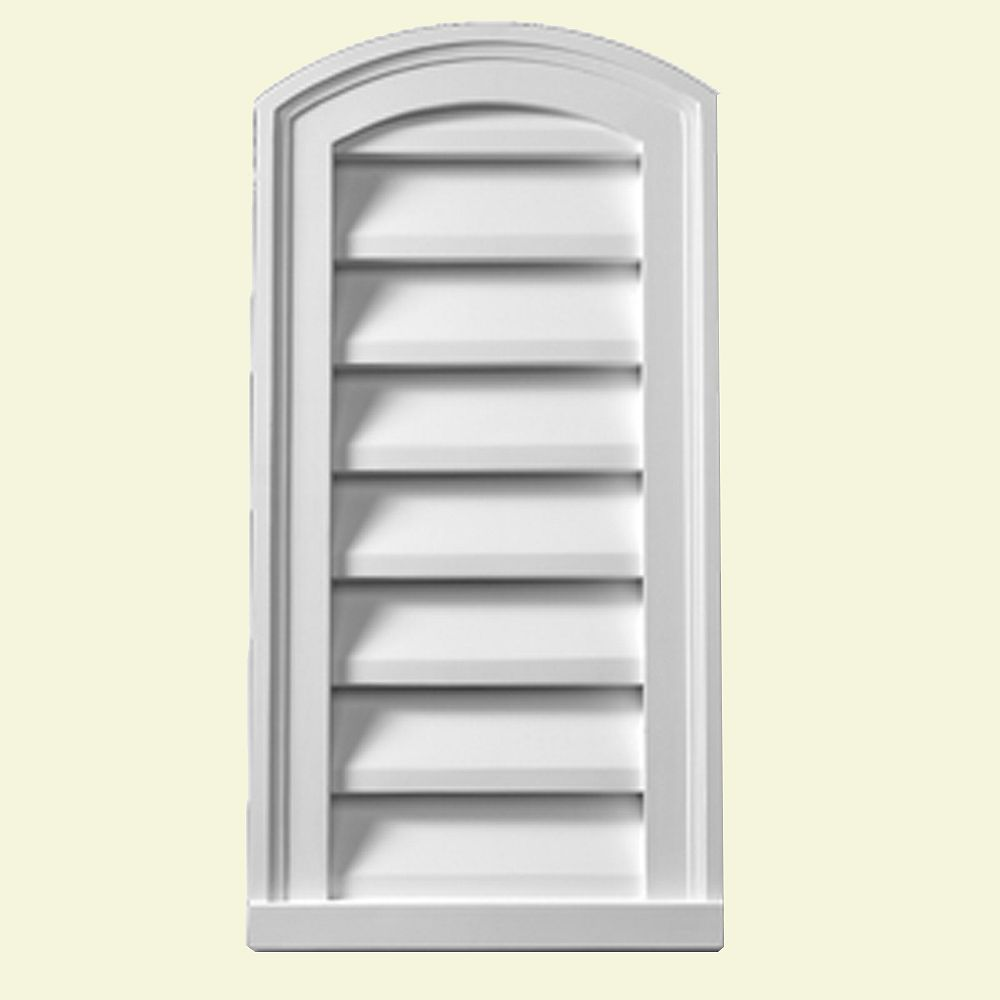 Fypon 18-inch x 30-inch x 2-inch Polyurethane Decorative Eyebrow Louver Gable Grill Vent