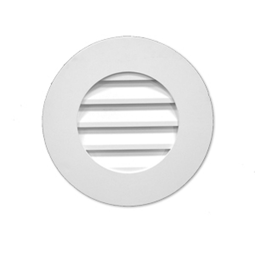 Fypon 27-inch x 2 1/2-inch Polyurethane Decorative Round Plain Louver Gable Grill Vent