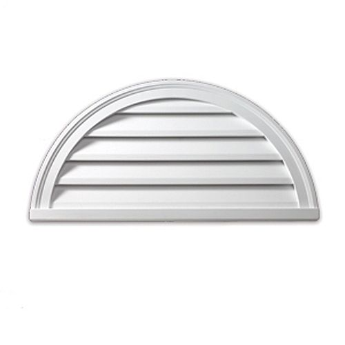 24-inch x 12-inch x 2-inch Polyurethane Functional Half Round Louver Gable Grill Vent