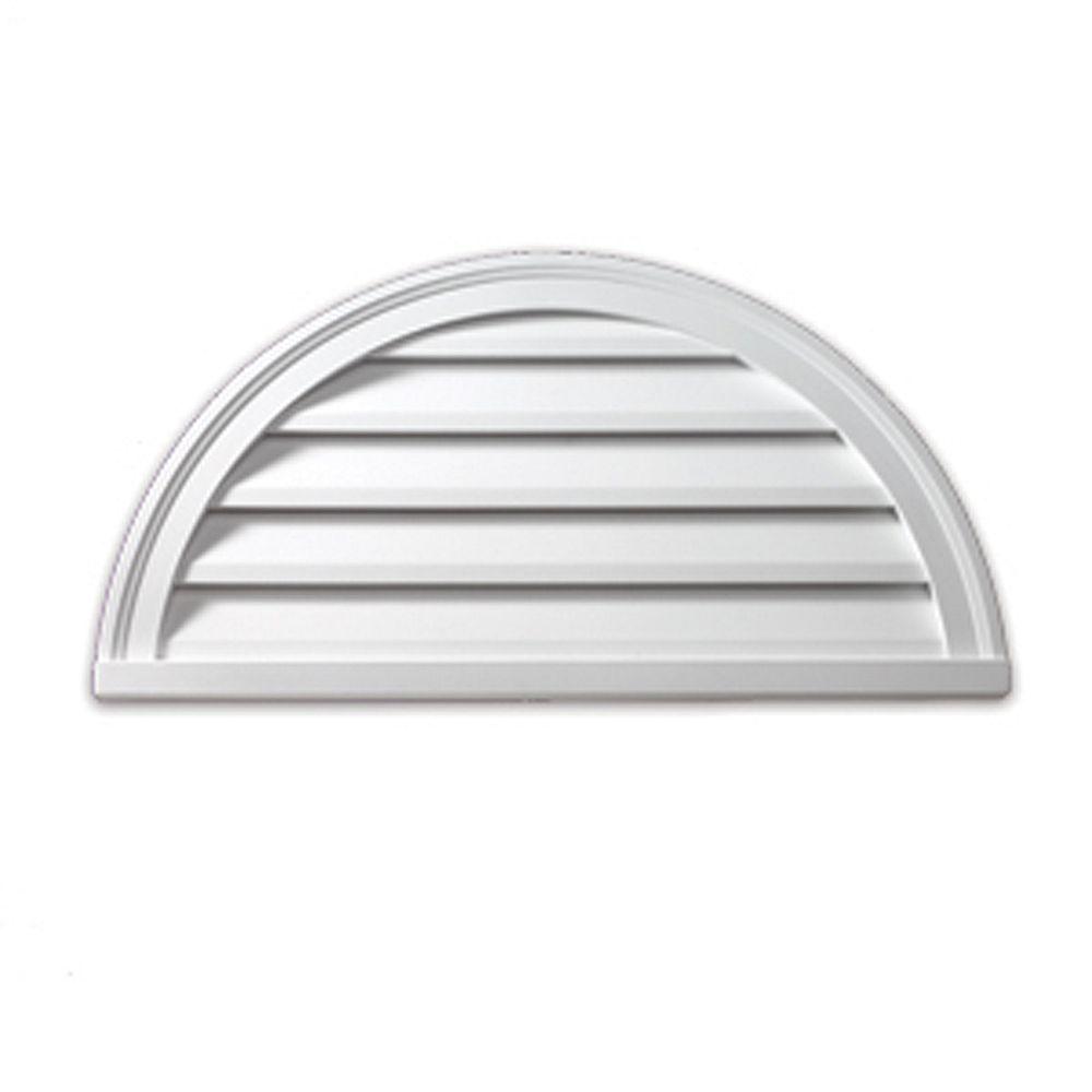 Fypon 48-inch x 24-inch x 2-inch Polyurethane Decorative Half Round Louver Gable Grill Vent