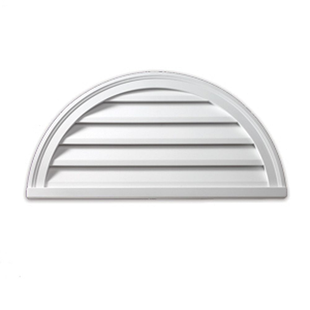Fypon 60-inch x 30-inch x 2-inch Polyurethane Functional Half Round Louver Gable Grill Vent