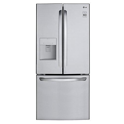 Réfrigérateur à double porte avec distributeur d'eau, 30 po, 22 pi3, acier inoxydable - ENERGY STAR®
