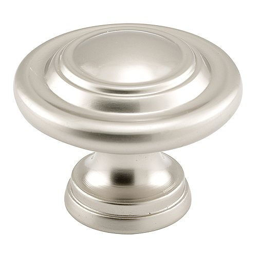 Bouton de porte pliante, diamètre extérieur de 1-11/16 po, moulé sous pression, fini nickel satiné