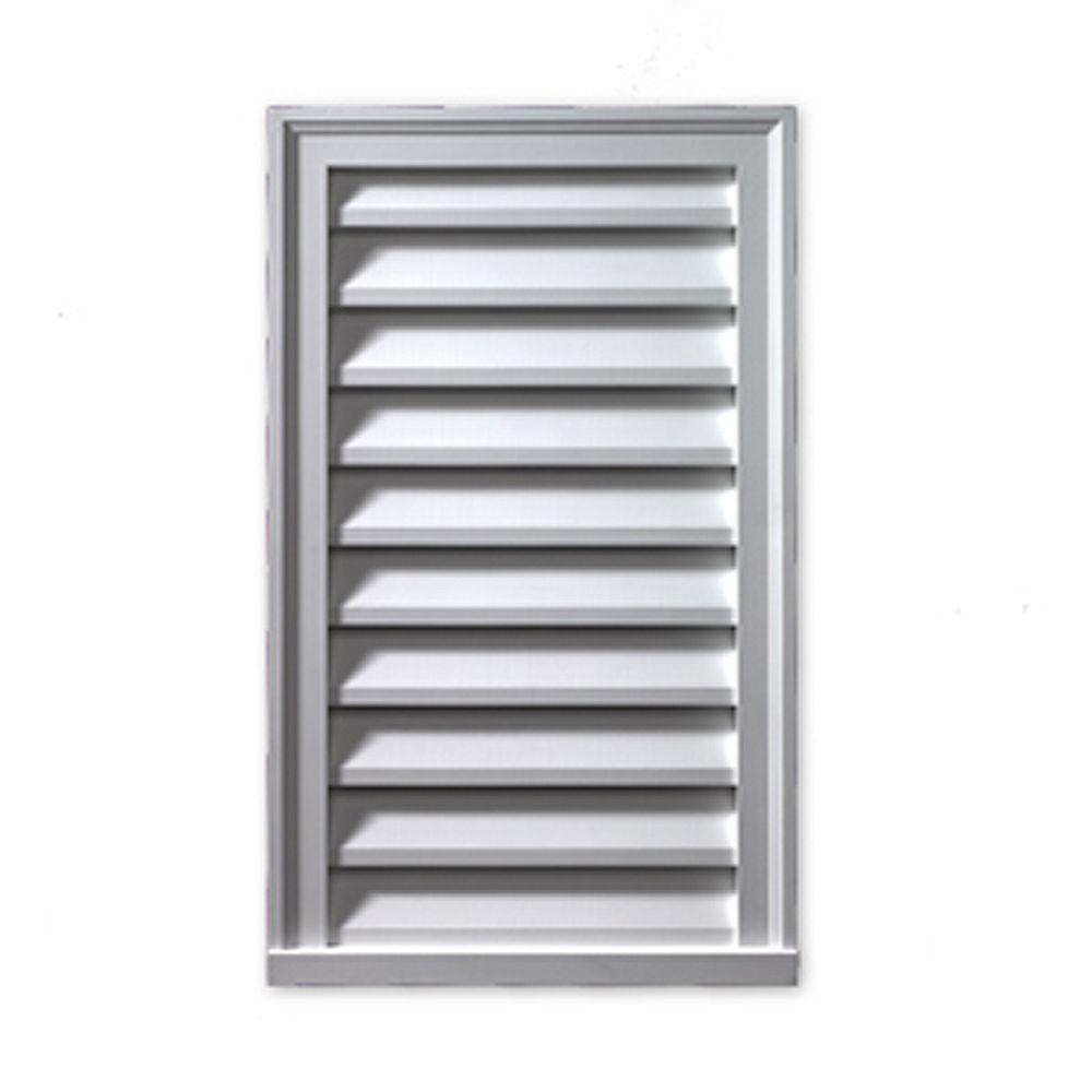 Fypon Évent de pignon décoratif vertical à persiennes en polyuréthane 14 po x 30 po x 2 po