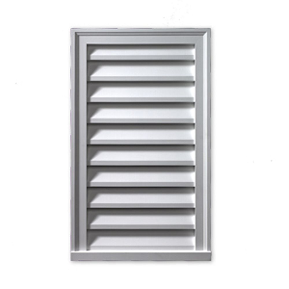 Fypon 24-inch x 48-inch x 2-inch Polyurethane Functional Vertical Louver Gable Grill Vent