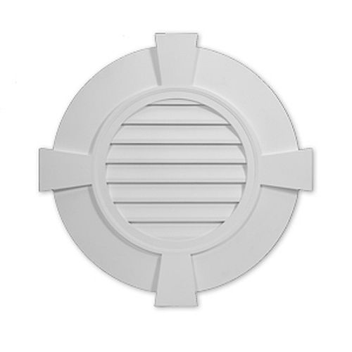 38-inch x 2 3/8-inch Polyurethane Decorative Round Louver Gable Grill Vent with Flat Trim