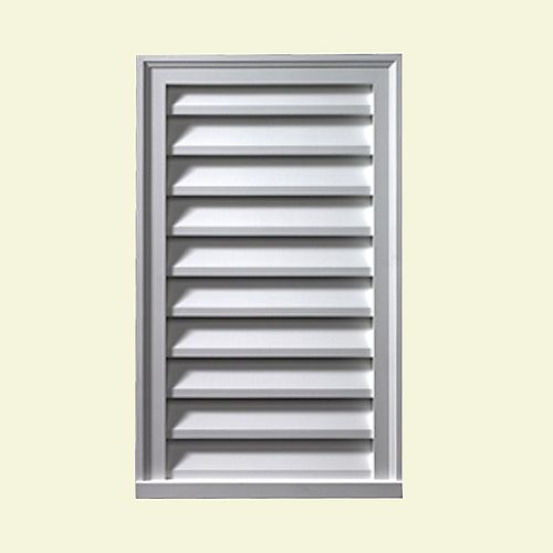18-inch x 24-inch x 2-inch Polyurethane Functional Vertical Louver Gable Grill Vent