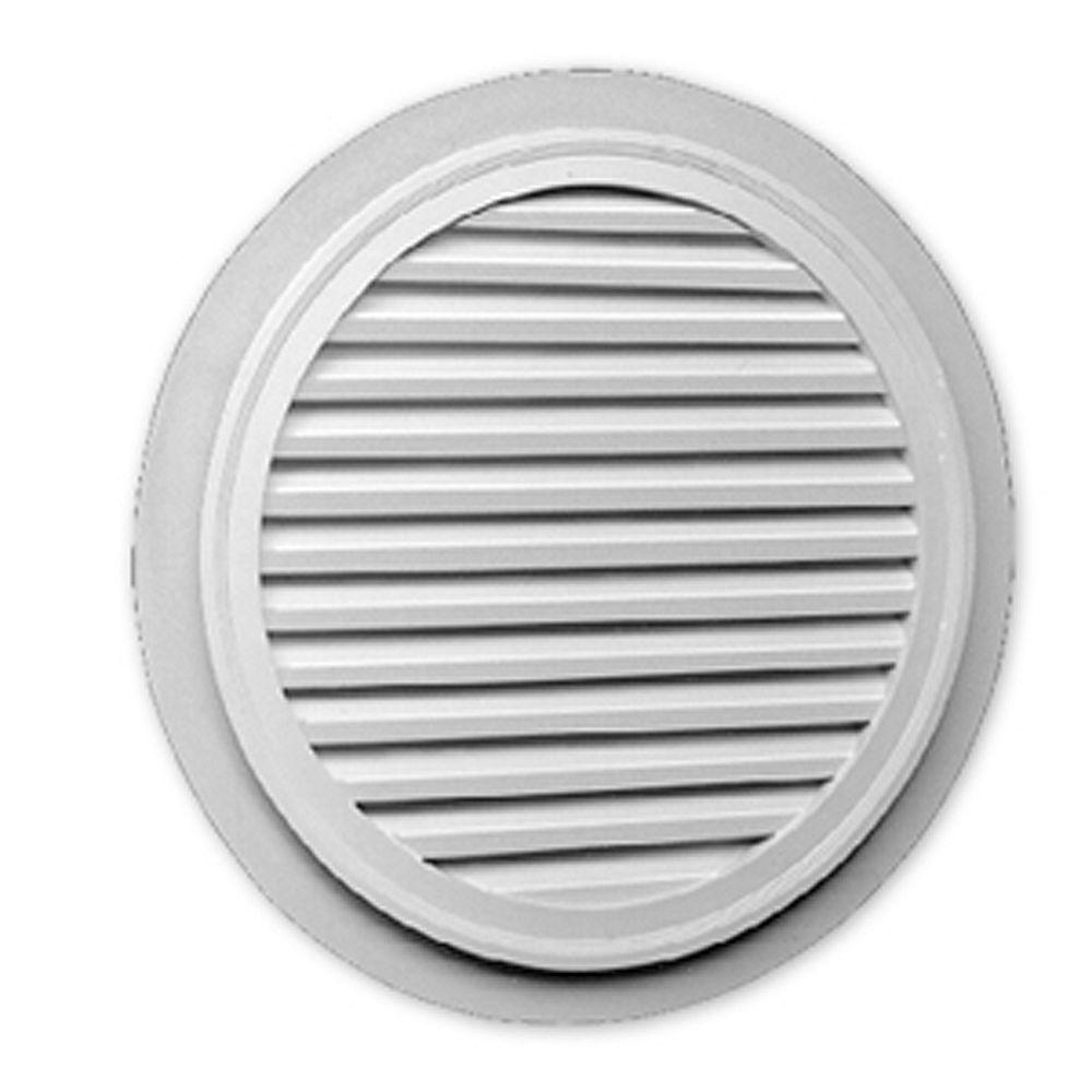 Fypon Évent de pignon fonctionnel rond à persiennes avec bordure plate en polyuréthane 32 po x 1-5/8 po