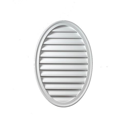 18-inch x 24-inch x 1 5/8-inch Polyurethane Functional Oval Vertical Louver Gable Grill Vent
