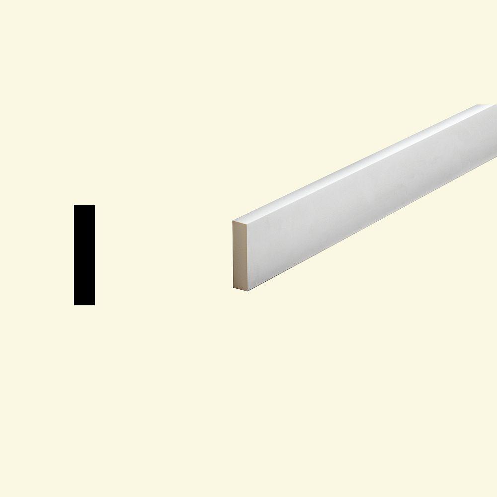 Fypon Bordure plate pour porte/fenêtre en polyuréthane apprêté 1 po x 3-1/2 po x 96 po