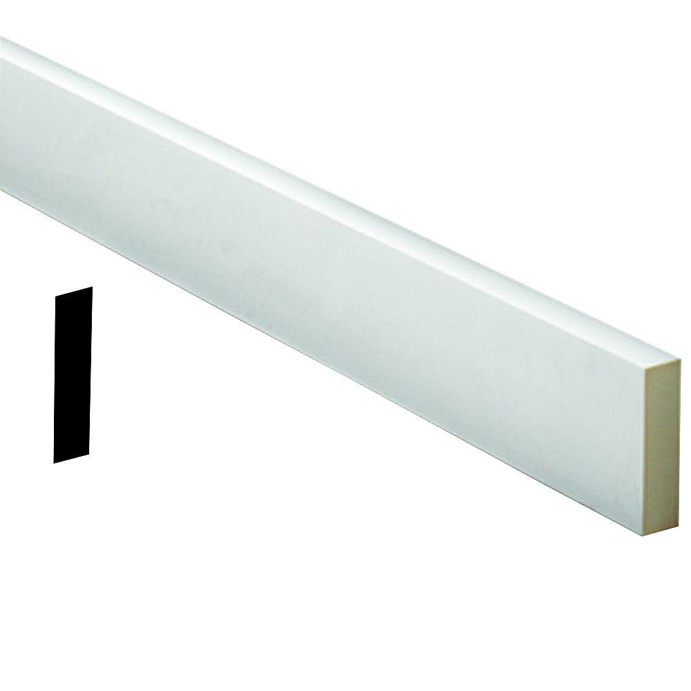 Fypon Moulure à bordure plate en polyuréthane apprêté 1 po x 7-1/2 po x 72 po