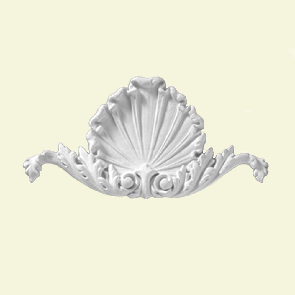 Fypon Moulure de décoration lisse de style coquille en composite 10-1/2 po x 5-3/8 po x 5/8 po