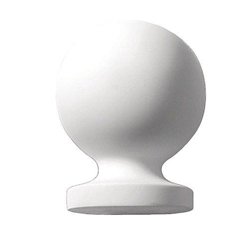 Faîteau de style boule en polyuréthane apprêté 7-13/16 po x 5-7/8 x 5-7/8 po