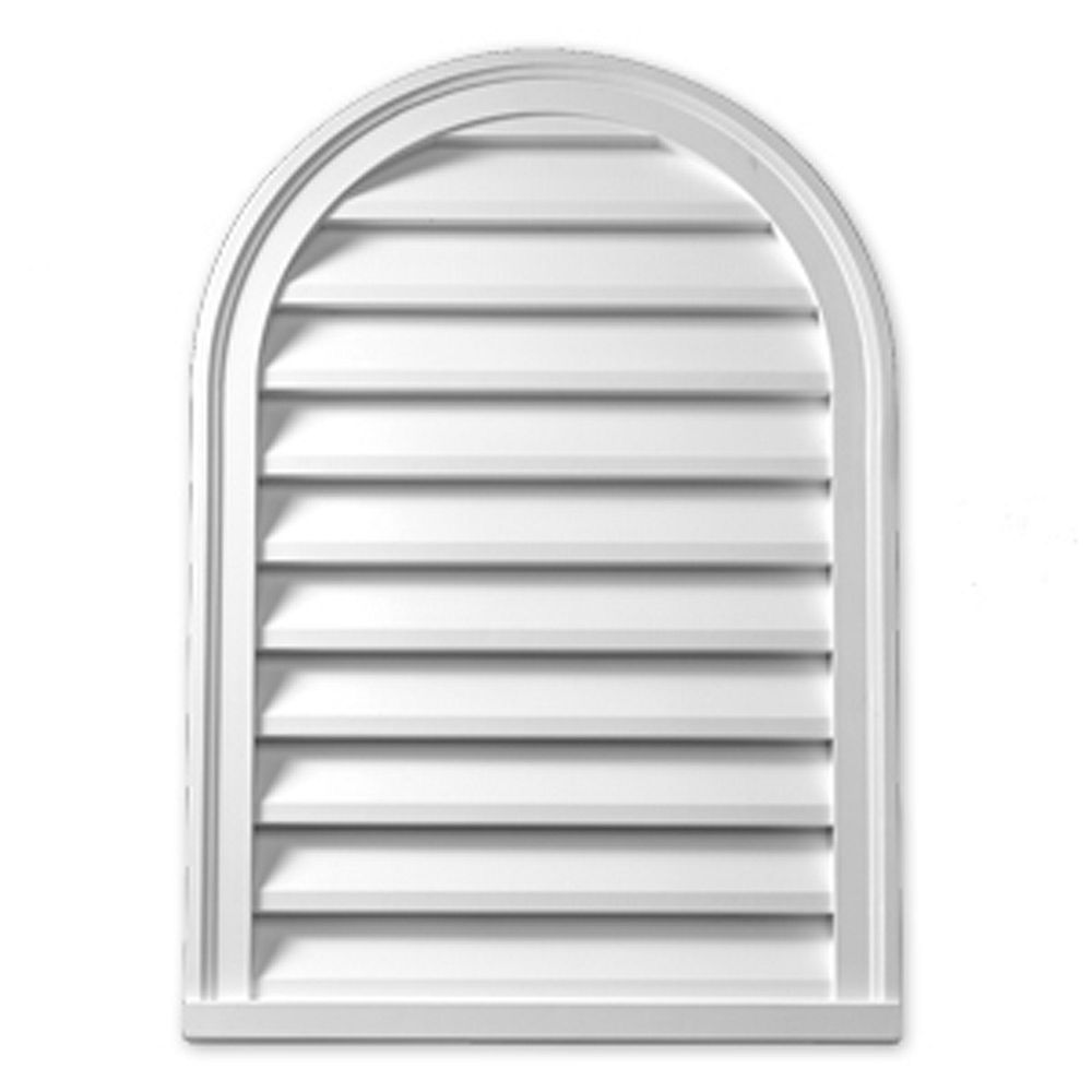 Fypon 12-inch x 24-inch x 2-inch Polyurethane Functional Cathedral Louver Gable Grill Vent