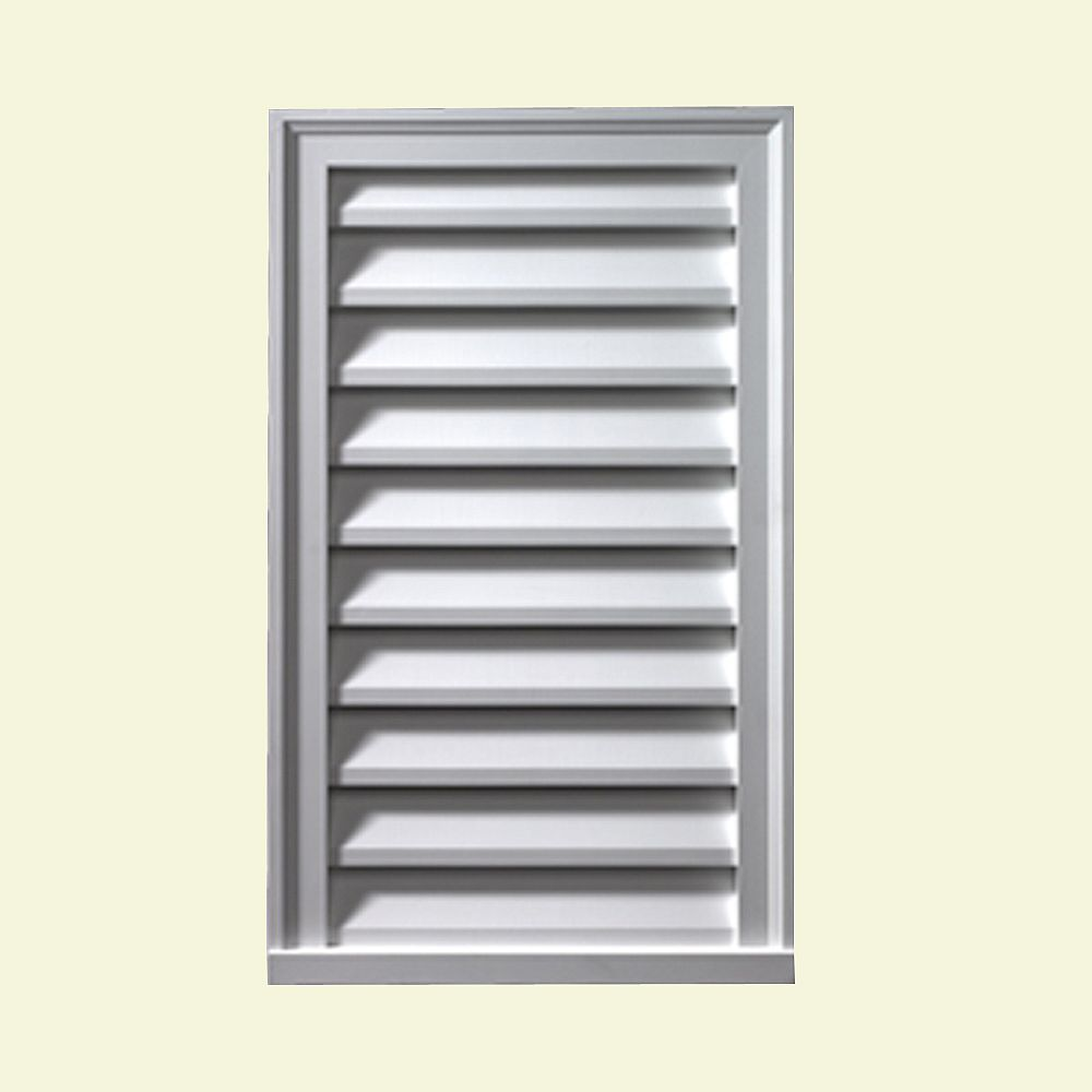 Fypon 16-inch x 24-inch x 2-inch Polyurethane Functional Vertical Louver Gable Grill Vent
