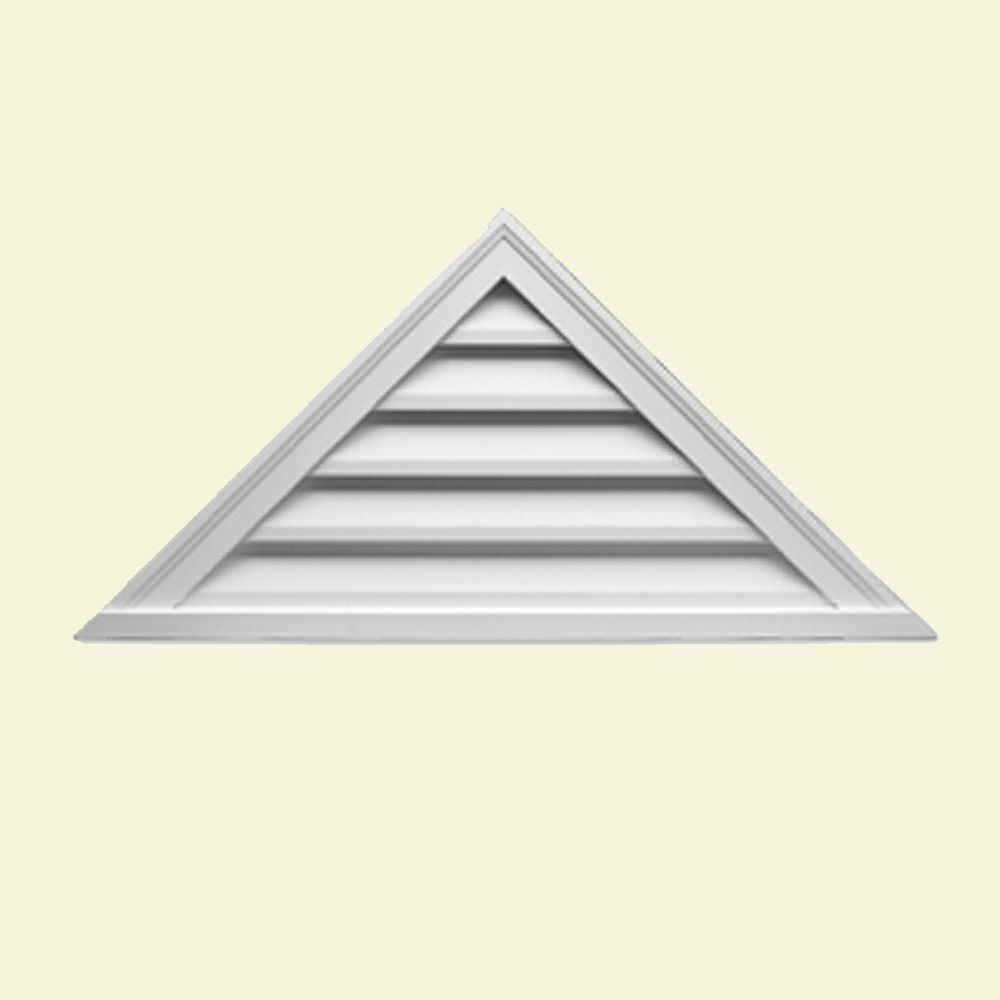 Fypon 65-inch x 21-inch x 2-inch Polyurethane Decorative Triangle Louver Gable Grill Vent