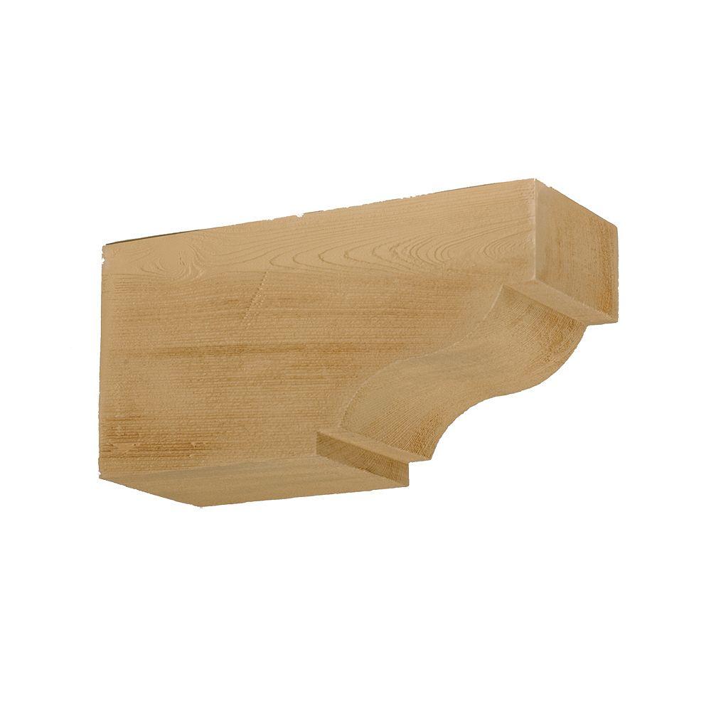 Fypon Corbeau en composite à texture de grain de bois non fini 6 po x 7-1/4 po x 14-1/2 po