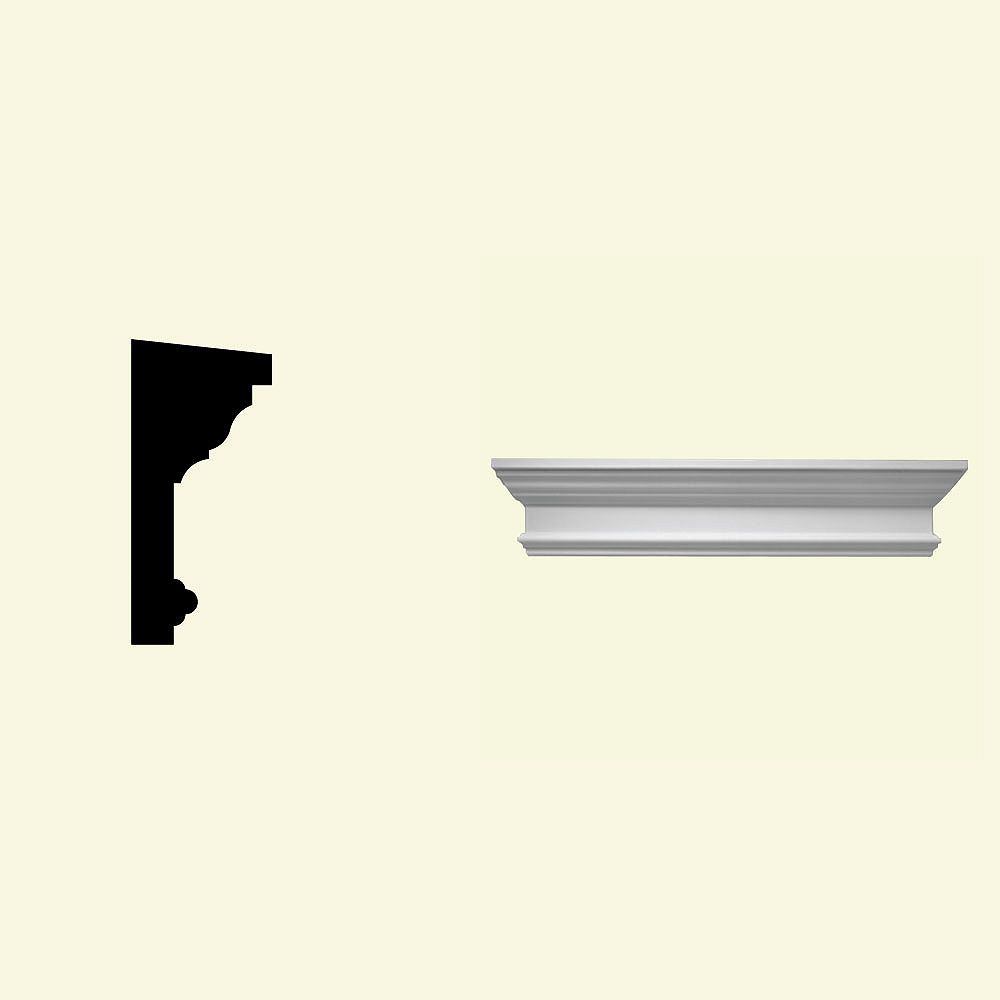 Fypon 34 Inch x 11 Inch x 6 Inch Primed Polyurethane Crosshead with Trim Strip for Window and Door
