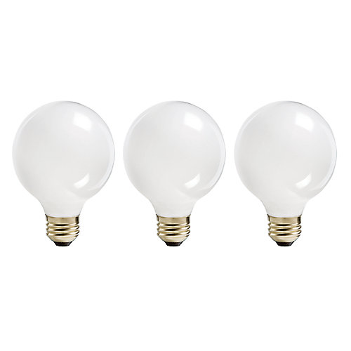 60W Halogen Globe (G25) White Light Bulb (3-Pack)