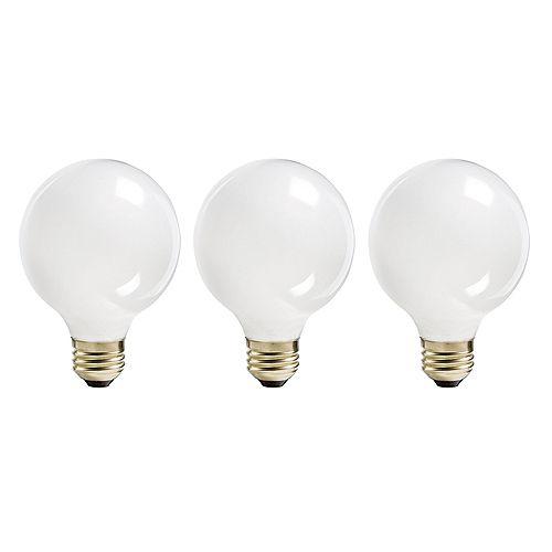 60W Halogen Globe (G25) White Light Bulb (3-Pack)