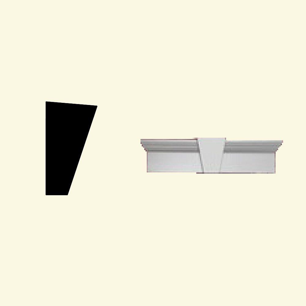Fypon Linteau pour porte/fenêtre avec clé de voûte en polyuréthane apprêté 84 po x 9 po x 4-1/2 po