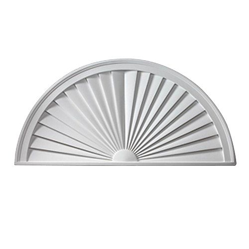 44 Inch x 22 Inch x 1-3/4 Inch Smooth Half Round Sunburst Pediment