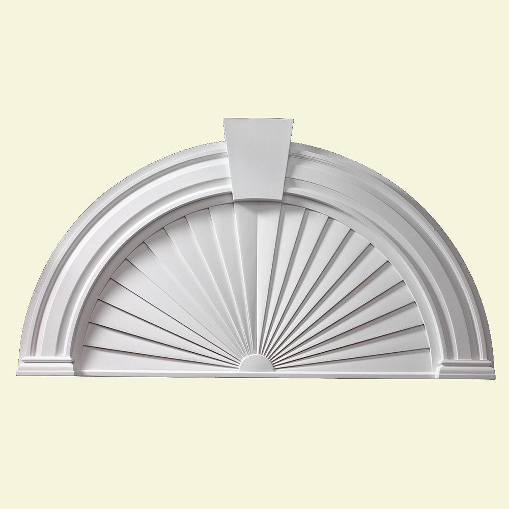 Fypon Fronton lisse de style soleil en demi-cercle avec clé de voûte 54 po x 29 po x 2-1/2 po