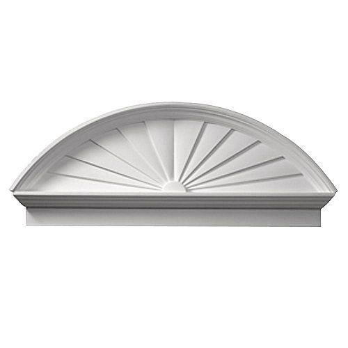 54 Inch x 21-3/8 Inch x 3-1/8 Inch Smooth Combo Sunburst Pediment
