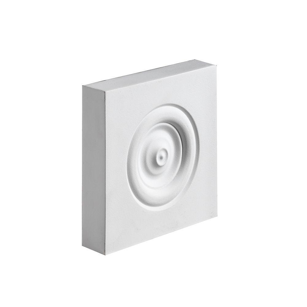 Fypon 5-1/2 Inch x 5-1/2 Inch x 2 Inch Polyurethane Plinth Block Rosette