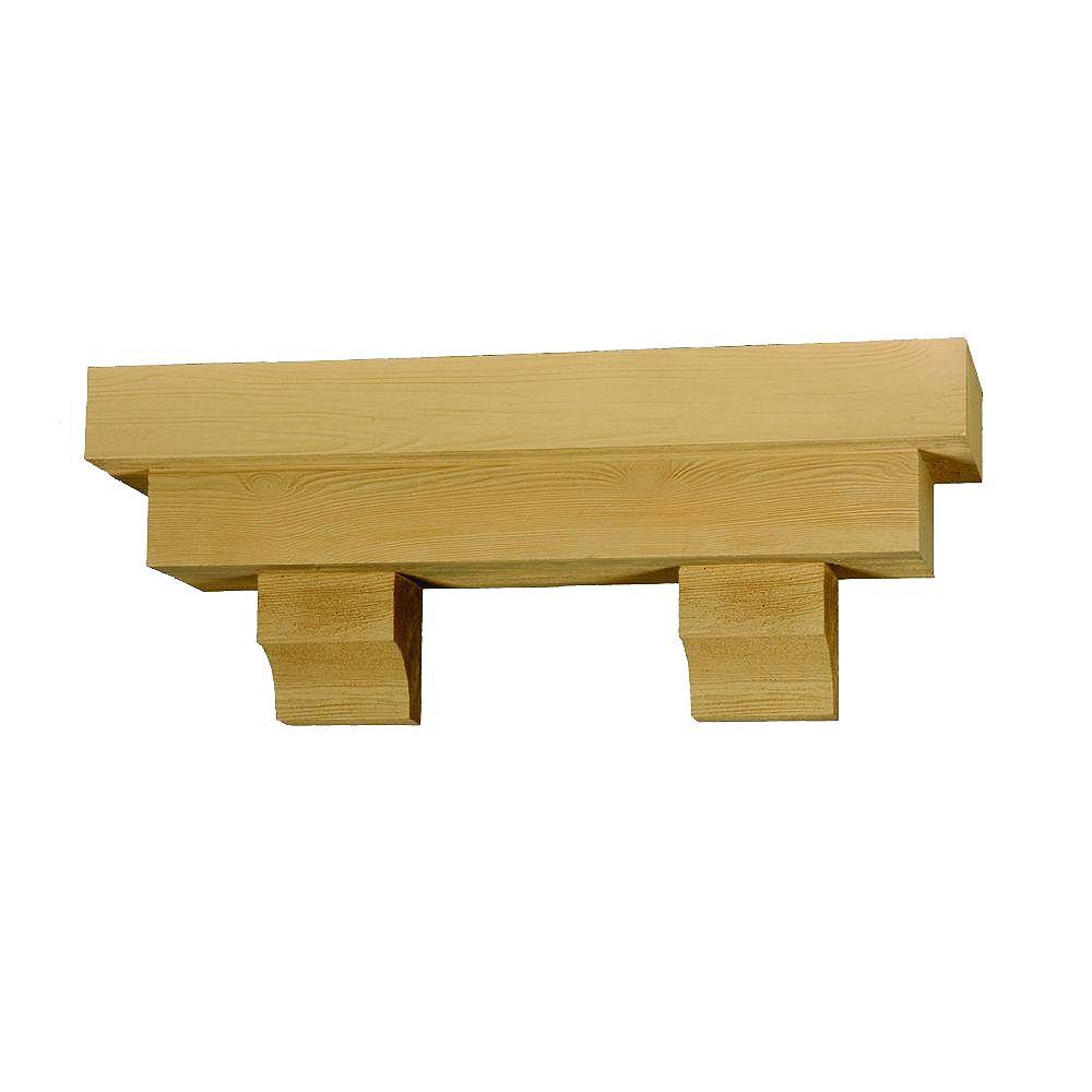 Fypon Étagère décorative carrée à texture de grain de bois 48 po x 14 po x 10 po