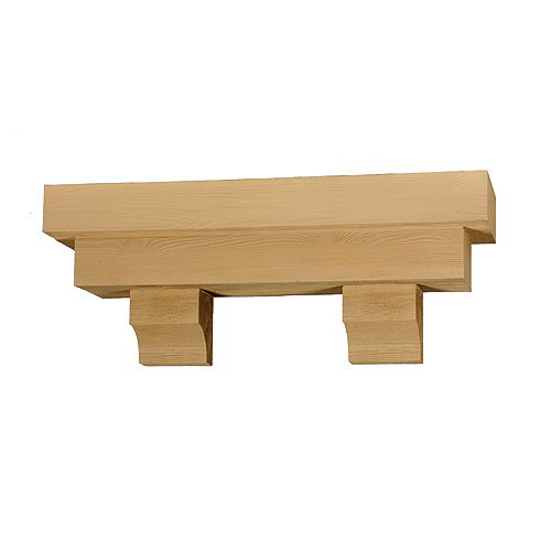 52 Inch x 14 Inch x 10 Inch Square Pot Shelf with Wood Grain Texture Block