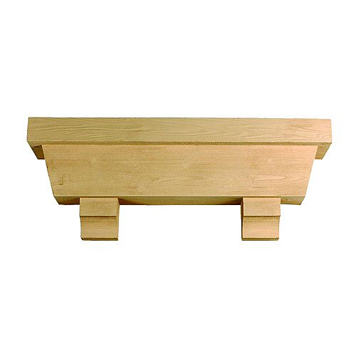 54 Inch x 18 Inch x 10 Inch Tapered Pot Shelf with Wood Grain Texture Block