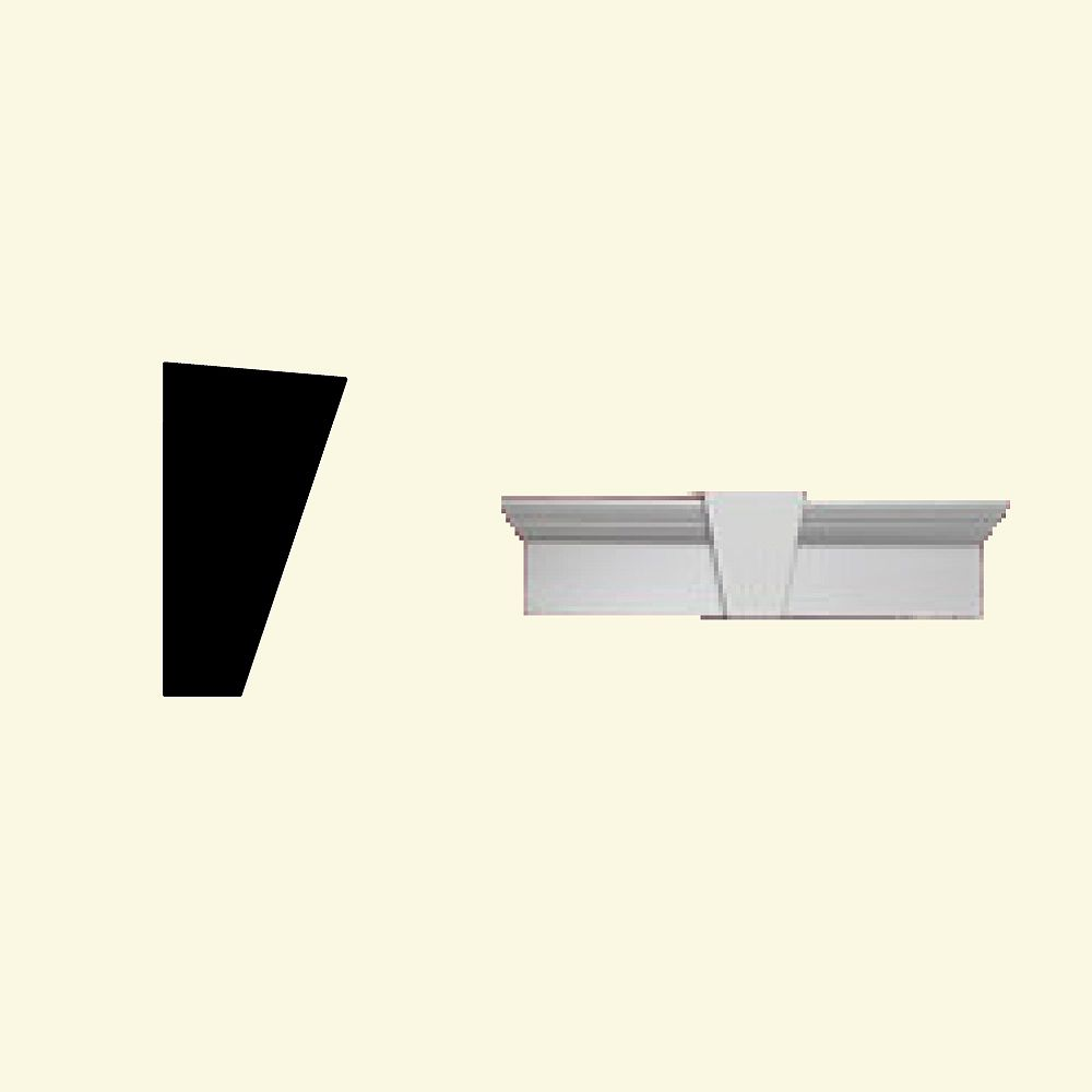 Fypon Linteau pour porte/fenêtre avec clé de voûte en polyuréthane apprêté 80 po x 11 po x 6 po