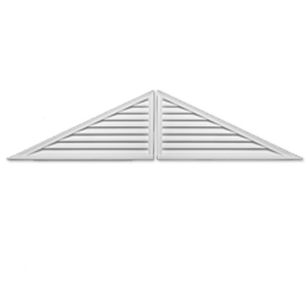 Fypon 60-inch x 25-inch x 2-inch 2-Piece Polyurethane Functional Triangle Louver Gable Grill Vent