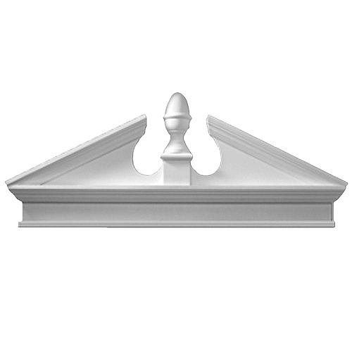 50 Inch x 22-1/8 Inch x 3-1/8 Inch Combo Acorn Pediment with Smooth Trim Bottom