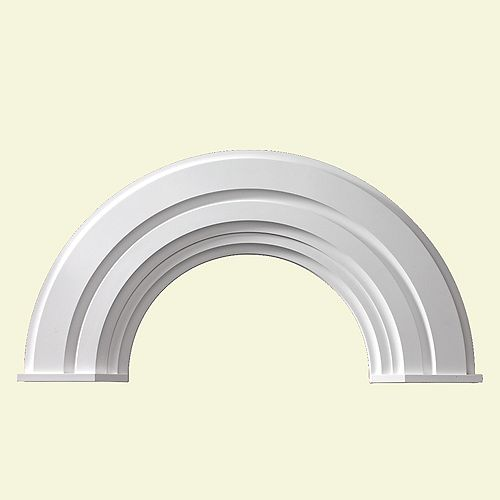 56 Inch x 28-3/4 Inch x 2-3/8 Inch Polyurethane Half Round Arch Decorative Trim with End Cap