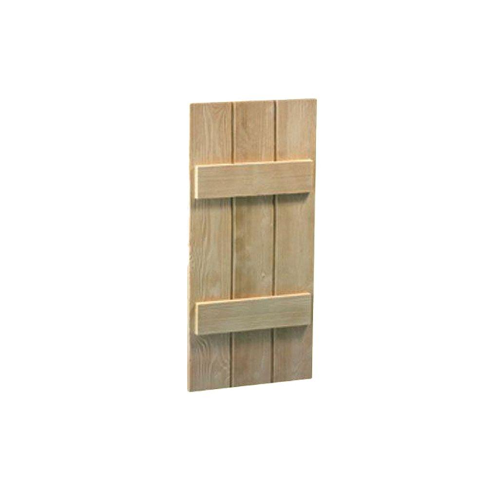 Fypon Volet à 3 planches et à tasseaux à texture de grain de bois 47 po x 14 po x 1-1/2 po