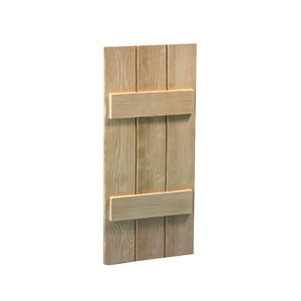 Fypon Volet à 3 planches et à tasseaux à texture de grain de bois 63 po x 14 po x 1-1/2 po