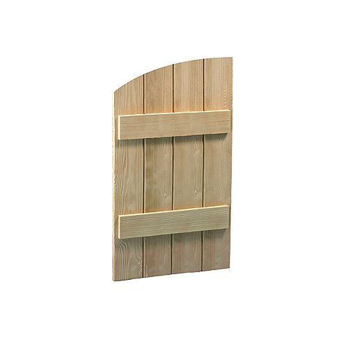 60 Inch x 24 Inch x 1-1/2 Inch Wood Grain Texture 4 Board and Batten Elliptical Shutter
