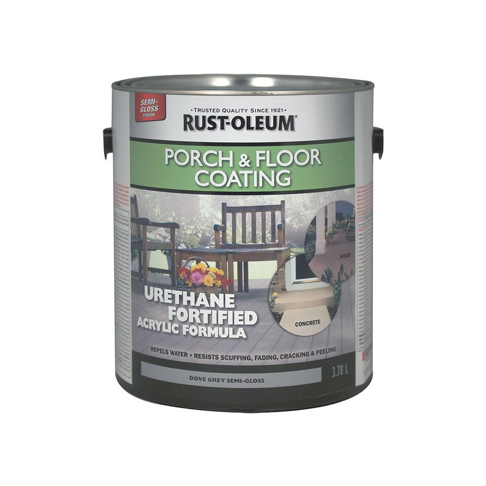 Rust-Oleum Porch & Floor Coating In Semi-Gloss Dove Grey, 3.78 L