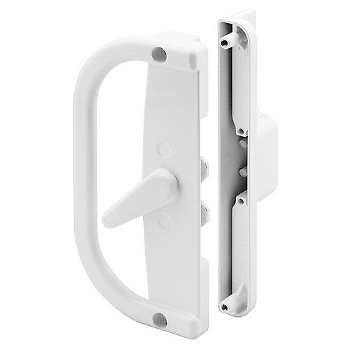 Patio Door Handle Set, 6-9/16 inch Diecast, White, Dual Hook Anti-Lift