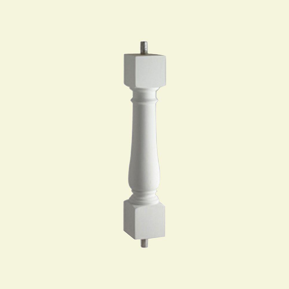 Fypon Balustre classique pour balustrade de 5 po en polyuréthane 24 po x 2-1/2 po x 2-1/2 po