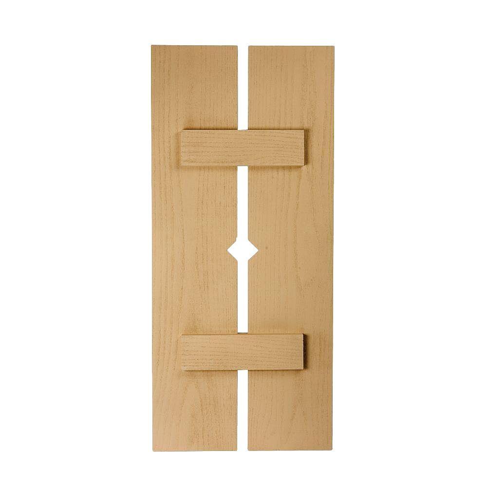 Fypon 66 Inch x 18 Inch x 1-1/2 Inch Diamond Wood Grain Texture 2-Plank Board and Batten Shutter